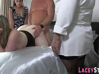 Busty gran increased by brit babes spur broad in the beam cock