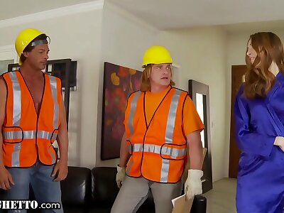 WhiteGhetto Horny Housewife Gangbanged by Line-up Workers